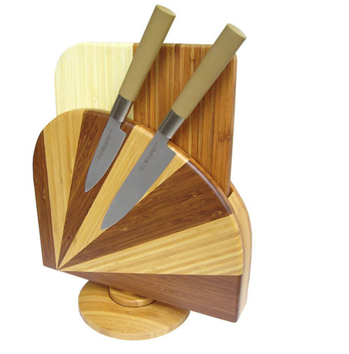 magnet messerblock mit schneidbrett im bambus design. Black Bedroom Furniture Sets. Home Design Ideas